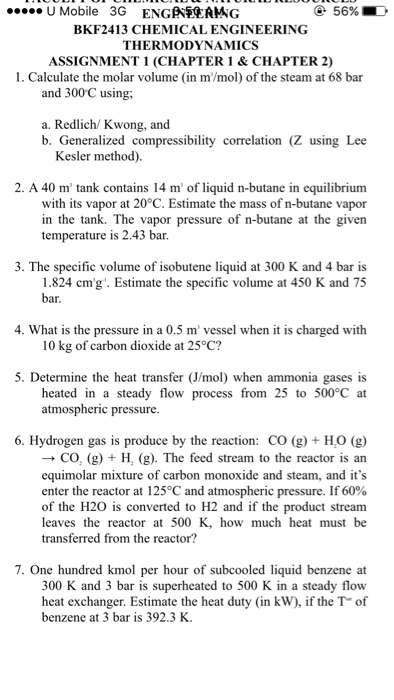 Question Calculate The Molar Volume In M Mol Of Steam At 68 Bar And 300 Degree C Using A Redlich