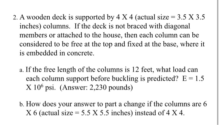 Solved A Wooden Deck Is Supported By 4 Times 4 Actual Si