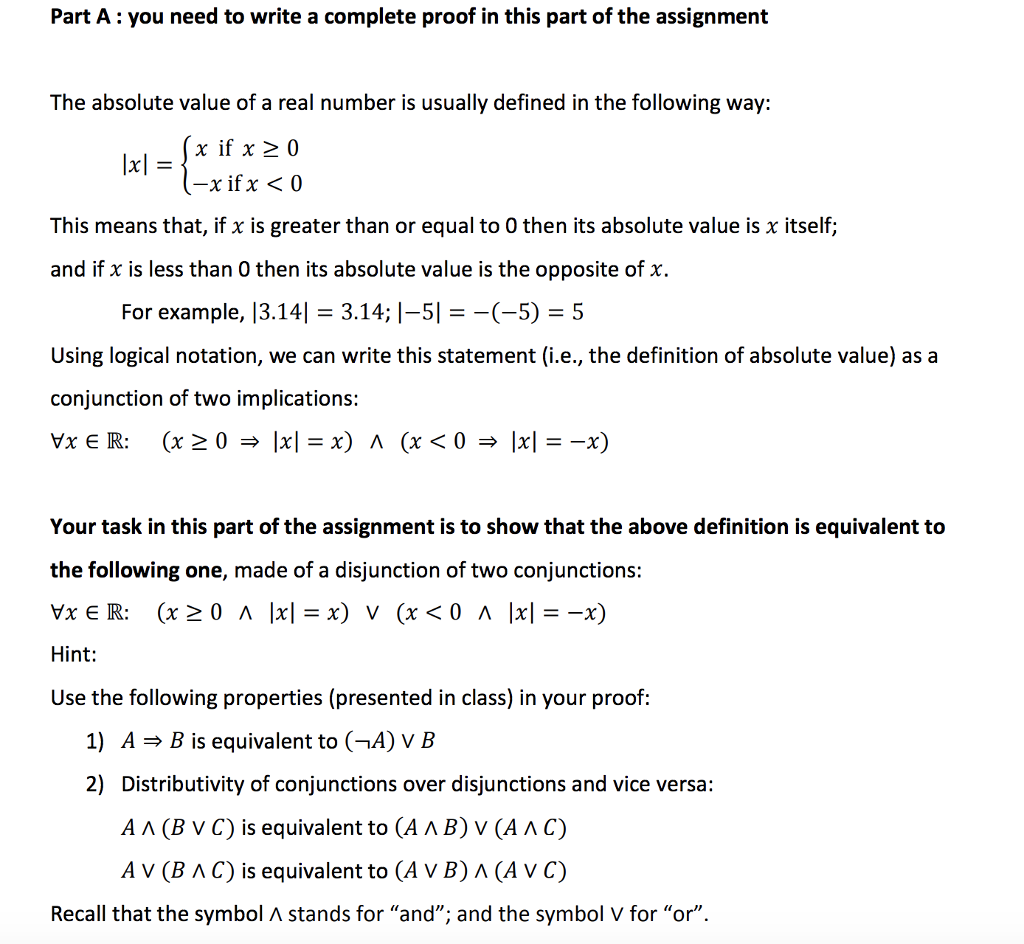 Solved Part A You Need To Write A Complete Proof In This