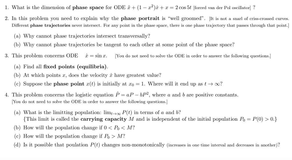 L  What Is The Dimension Of Phase Space For ODE: +