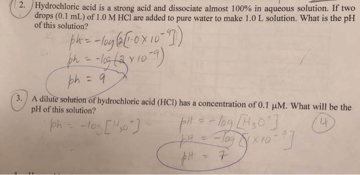 Solved  2 U00b7 Hydrochloric Acid Is A Strong Acid And Dissocia