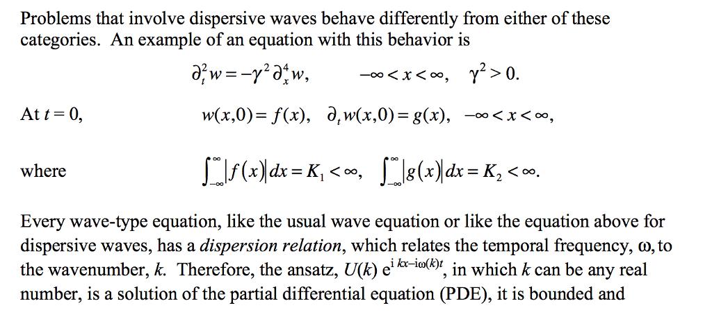 Problems That Involve Dispersive Waves Behave Diff      Chegg com