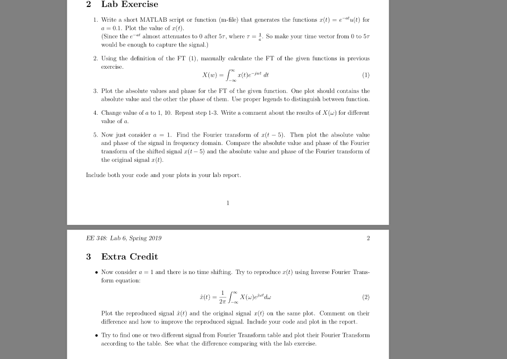 2 Lab Exercise 1  Write A Short MATLAB Script Or F