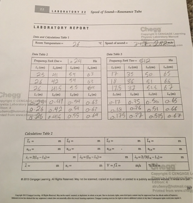 Solved: LABORATORY 22 Speed Of Ance Tube LABORATORY REPORT
