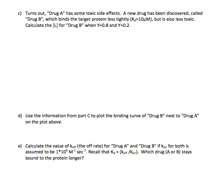 c) Turns out, Drug A has some toxic side effects. A new drug has been discovered, called Drug B, which binds the target p