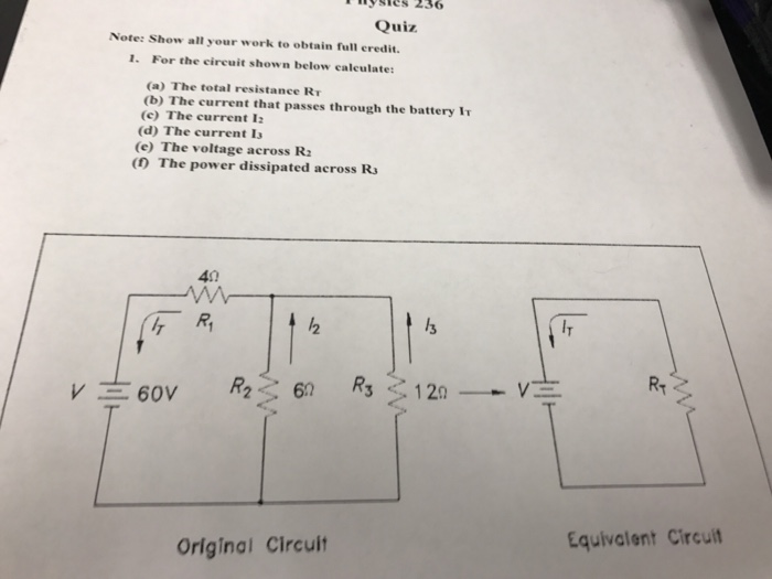 Solved: Physics 236 Quiz. Note: Show All Your Work To Obta ...