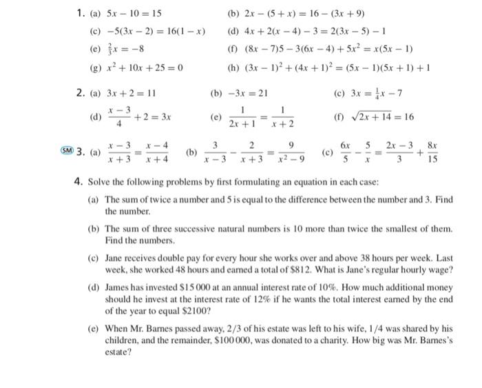 Solved 1 A 5x 10 15 B 2x 5 X16 3x 9 D 4x
