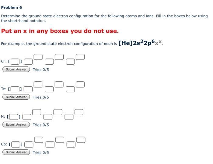 Solved Problem 6 Determine The Ground State Electron Conf Chegg Com