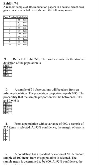 Solved: Exhibit 7-1 A Random Sample Of 10 Examination Pape