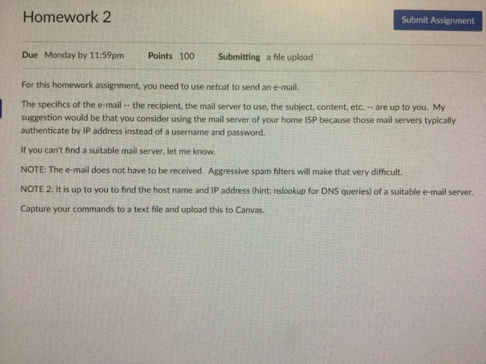 Solved: Homework 2 Submit Assignment Due Monday By 11:59pm