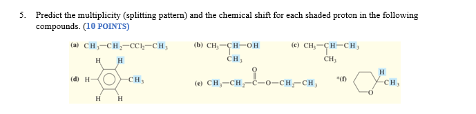 5. Predict the multiplicity (splitting pattern) and the chemical shift for each shaded proton in the following compounds. (10