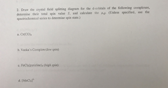 Solved 2 Draw The Crystal Field Splitting Diagram For Th