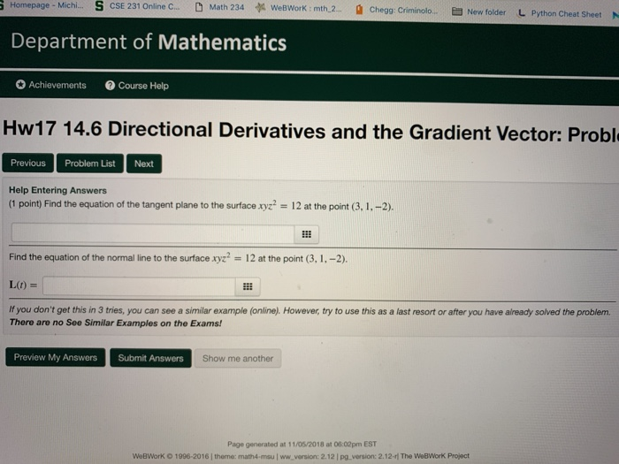 Solved: Homepage-Michi S CSE 231 Online C - D Math 234 A W