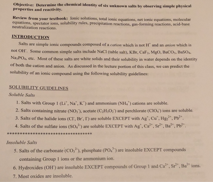 Solved Rom The Solubility Rules Circle Those Compounds T