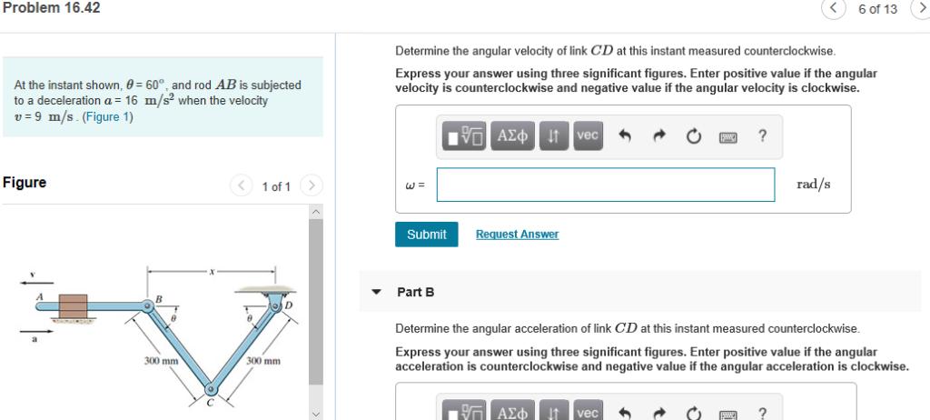 Solved: Problem 16 42 6 Of 13 > Determine The Angular Velo