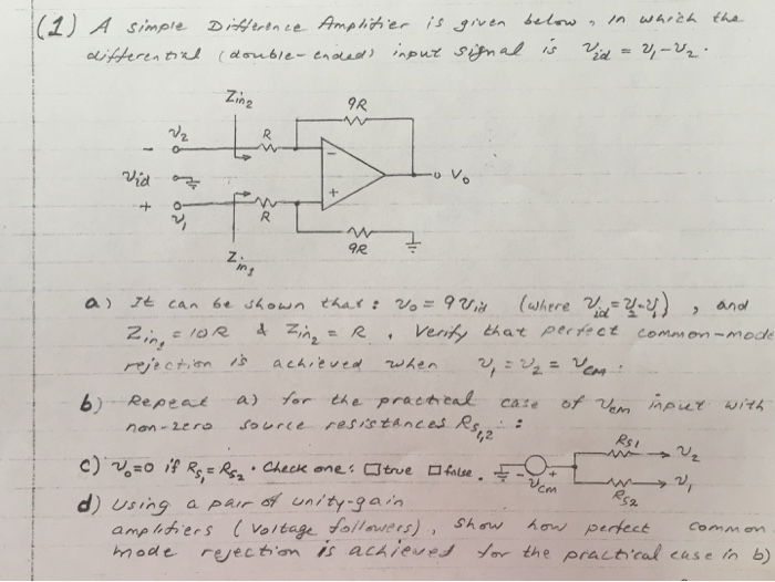 Solved: A Simple Difference Amplifier Is Given Below In Wh