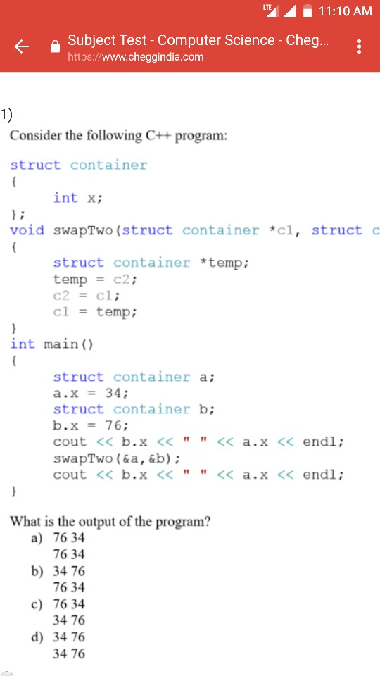Solved: 11:10AM Subject Test - Computer Science - Cheg Htt