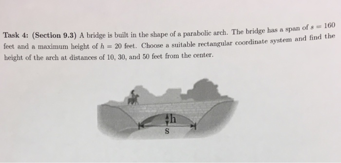 Solved: A Bridge Is Built In The Shape Of A Parabolic Arch