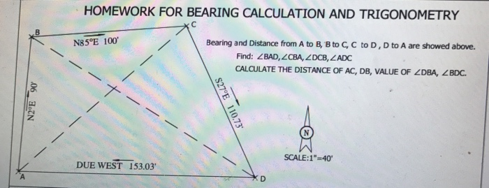 Solved: Bearing And Distance From A To B, B To C, C To D ...