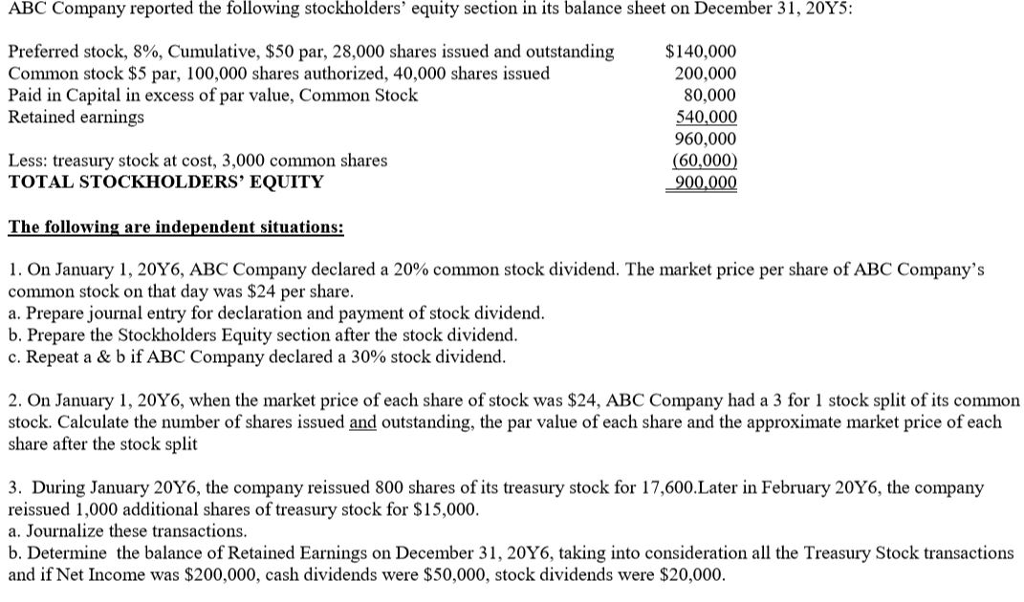 Solved: ABC Company Reported The Following Stockholders' E