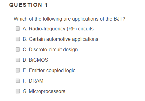 Solved: QUESTION 1 Which Of The Following Are Applications