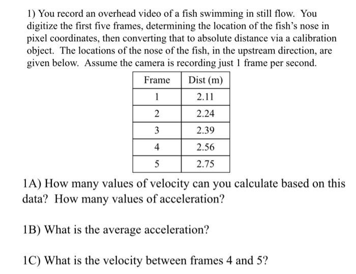 Solved: You Record An Overhead Video Of A Fish Swimming In ...