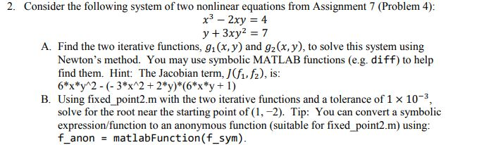 2  Consider The Following System Of Two Nonlinear     | Chegg com