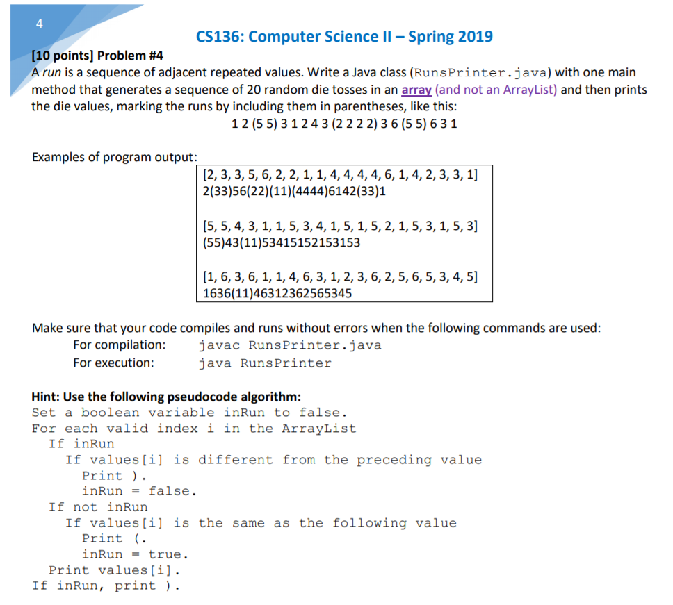 Solved: 4 CS136: Computer Science II-Spring 2019 [10 Point