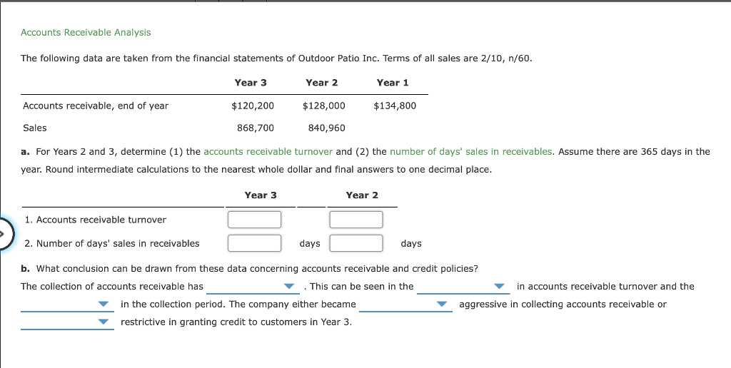 Solved: Accounts Receivable Analysis The Following Data Ar
