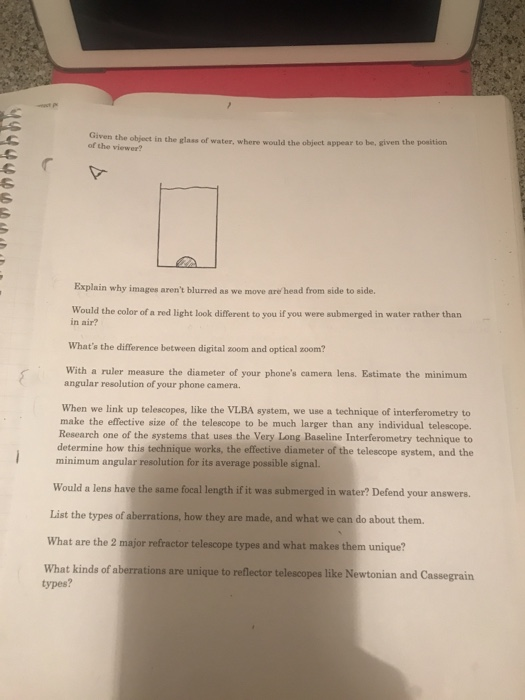 Solved: Given The Object In The Glass Of Water, Where Woul