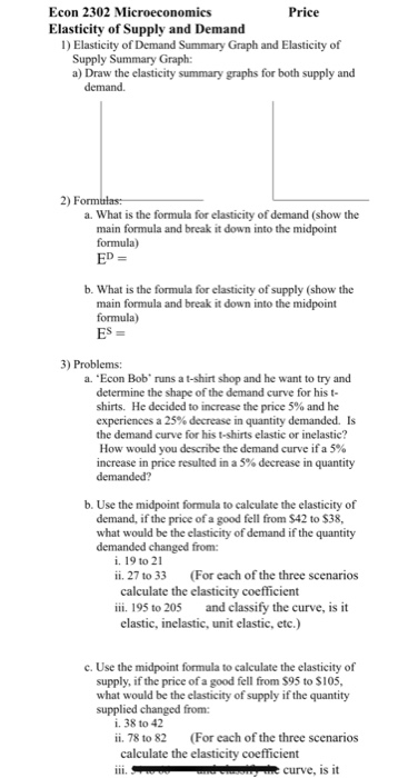 Solved Econ 2302 Microeconomics Elasticity Of Supply And