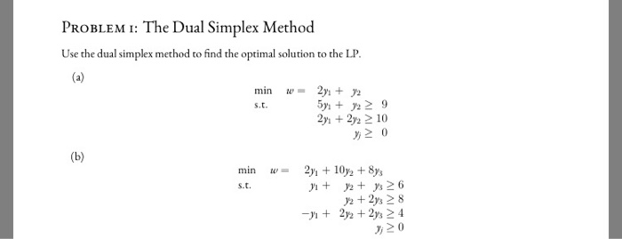 Solved: PROBLEM I: The Dual Simplex Method Use The Dual Si