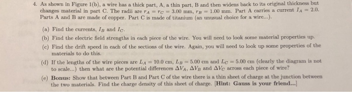 4. As shown in Figure 1(b), a wire has a thick part, A, a thin part, B and then widens back to its original thickness but cha