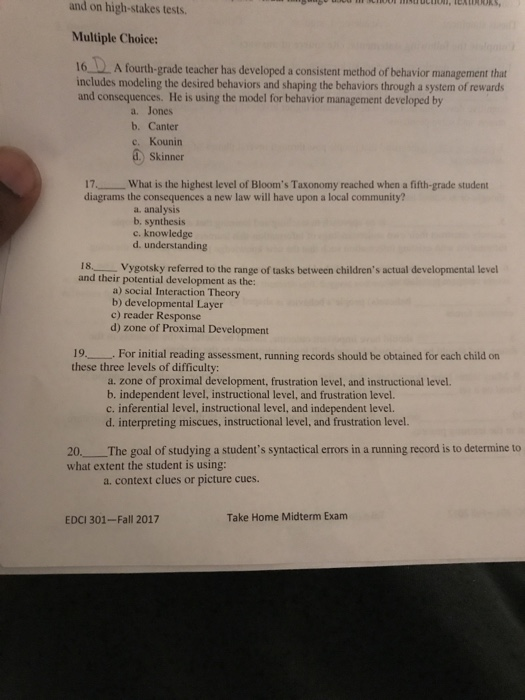 Solved And On High Stakes Tests Multiple Choice 16 A Fo