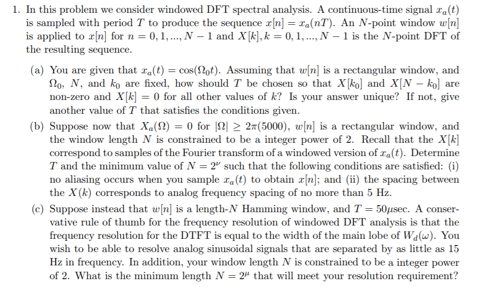 1  In This Problem We Consider Windowed DFT Spectr    | Chegg com