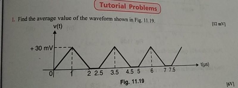 Tutorial Problems . Find the average value of the waveform shown in Fig. 11.19. v(t) 12 mV 2 26 3.5 4517u) 2 2.5 3.5 45 5 6 77.5 tus) Fig. 11.19 6V]