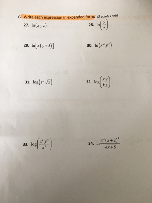 Solved Write Each Expression In Expanded Form In Xyz I