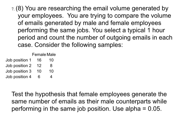 Solved: 7. (8) You Are Researching The Email Volume Genera ...