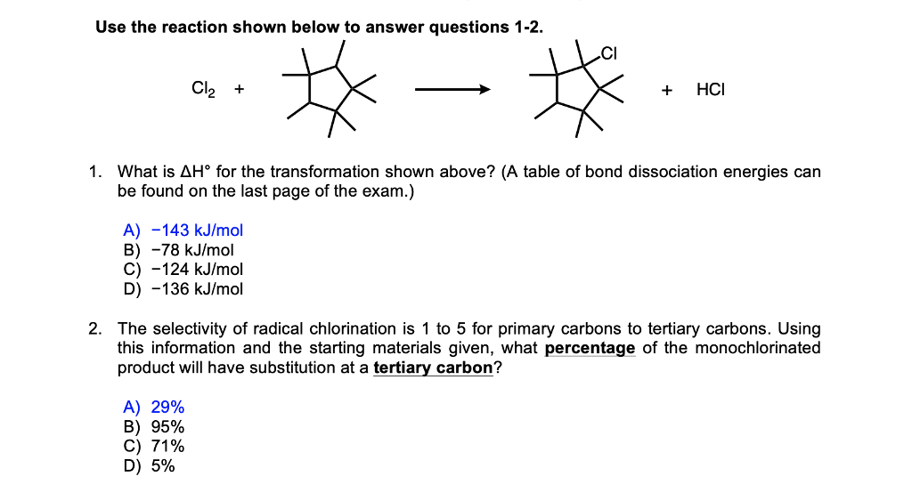 Solved: Organic Chemistry: Bond Energy Calculation The Cor