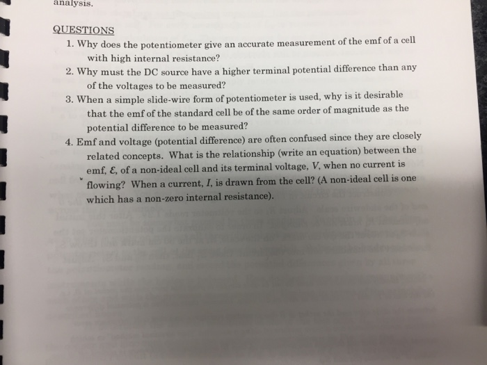 Solved: Why Does The Potentiometer Give An Accurate Measur ...