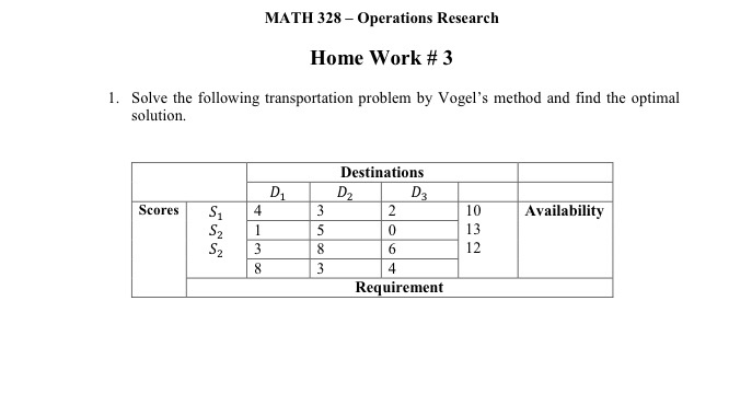 Solved: MATH 328 Operations Research Home Work # 3 1  Solv