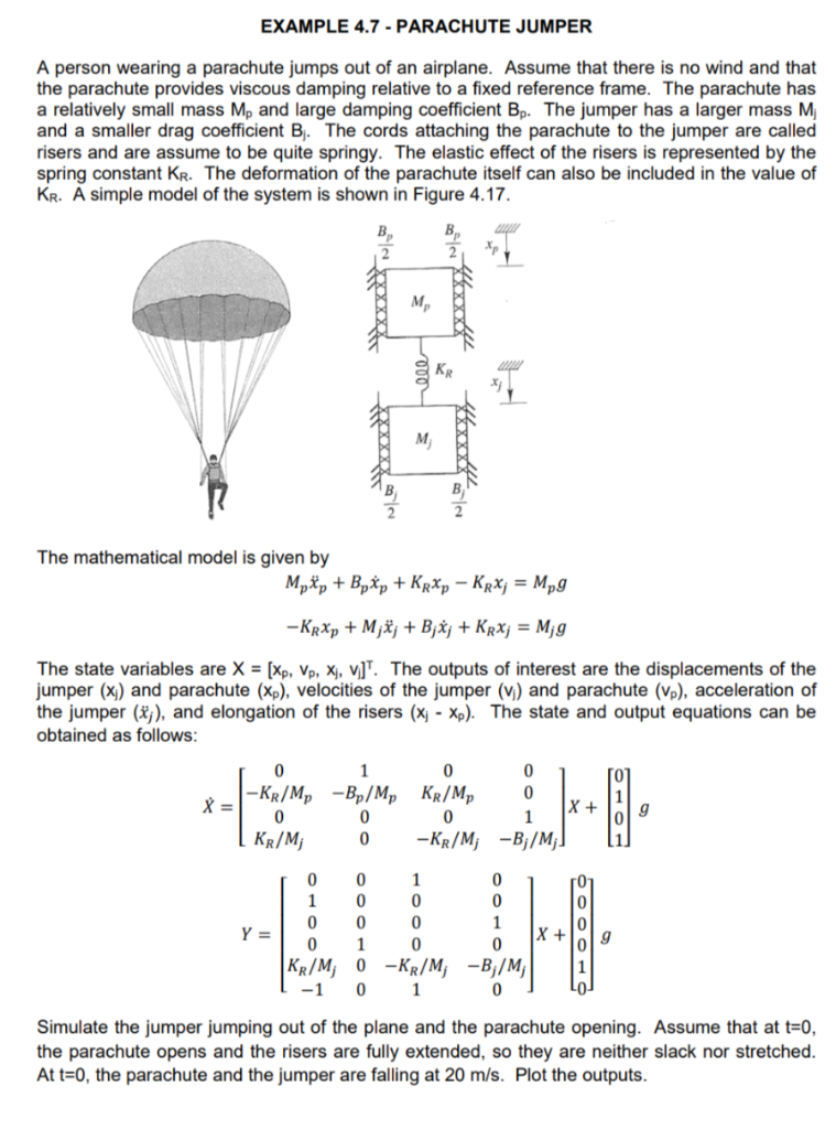 Solved: Draw The Block Diagram For The Parachute Jumper Sy