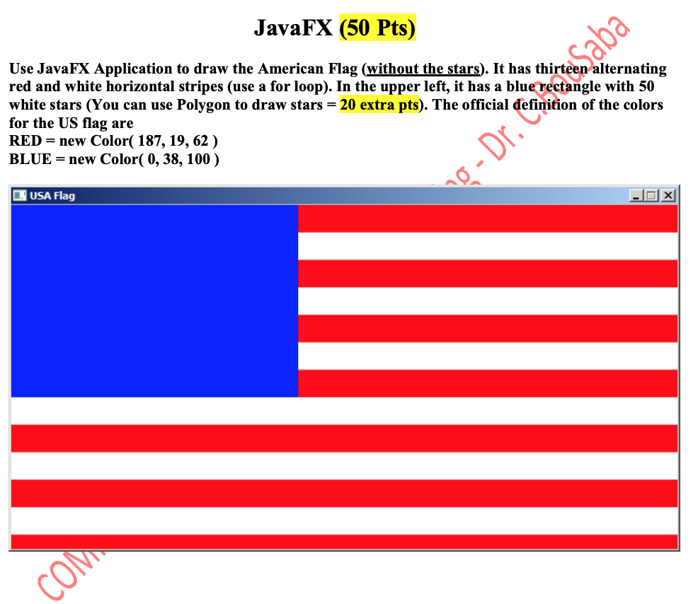 Solved: JavaFX (50 Pts) R Ins Use JavaFX Application To Dr