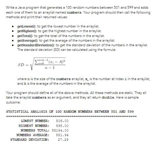 Solved: Write A Java Program That Generates A 100 Random N