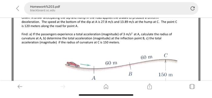 Solved: Homework%203 pdf Blackboard sc edu Deceleration  T