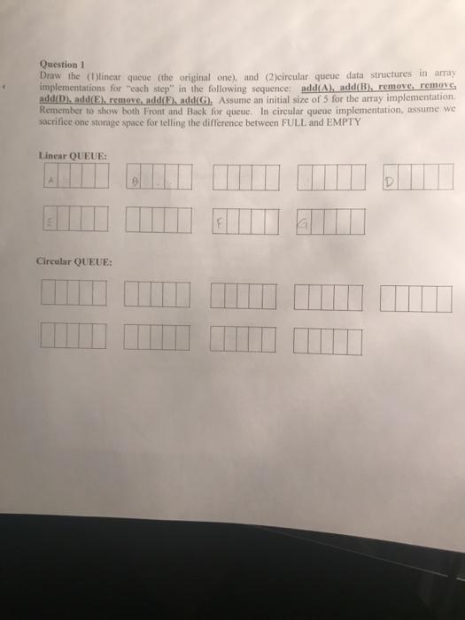 Solved: Question 1 Draw The ()linear Queue (the Original O