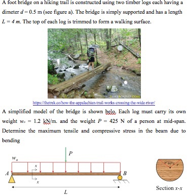 Solved: A Foot Bridge On A Hiking Trail Is Constructed Usi