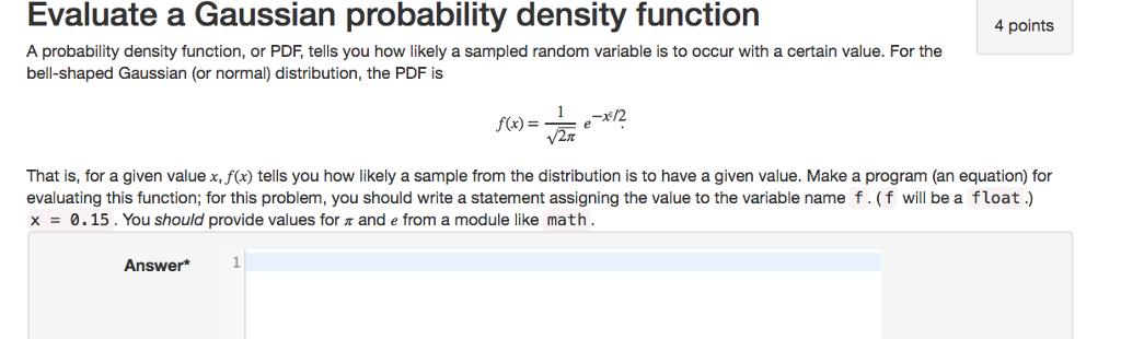 Solved: Evaluate A Gaussian Probability Density Function 4