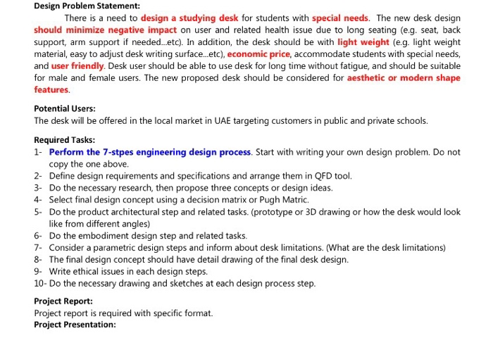 Solved Design Problem Statement There Is A Need To Desig