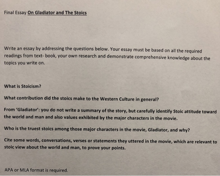 Solved Final Essay On Gladiator And The Stoics Write An E  Final Essay On Gladiator And The Stoics Write An Essay By Addressing The  Questions Below